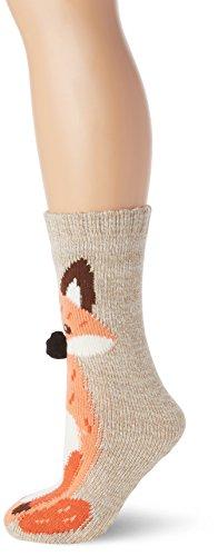 new-look-womens-fox-pom-nose-slipper-socks-beige-oatmeal-one-size