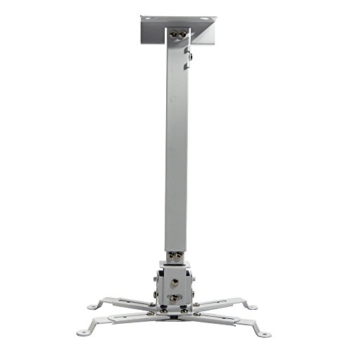 Universal Adjustable Tilt Led Dlp Lcd Ceiling Extendable Projector Mount Bracket With Extension Pole - White