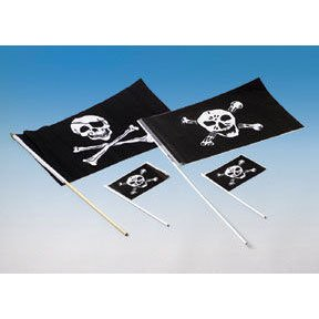 "Plastic Pirate Flag 12""x18"" DZ"