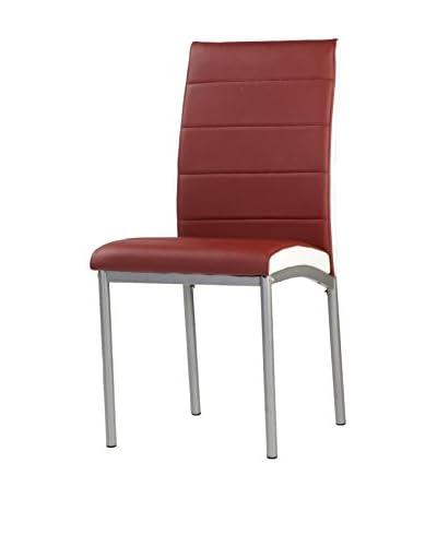keukenmeubilair stoel set van 4 bordeaux / wit