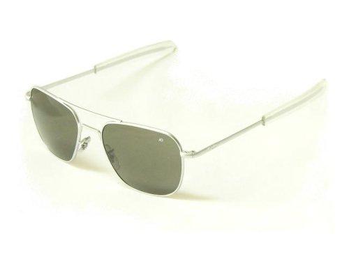 American Optical AO Original Pilot Aviator Sunglasses 55 mm Matte Chrome Bayonet True Color Gray Glass Lenses 30187