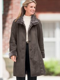 Womens Shearling Coat Discount: Misses Black Long Faux-Shearling Coat