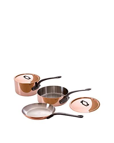 Mauviel Crated Copper & Stainless Steel 5-Piece Cookware Set with Cast Iron Handles