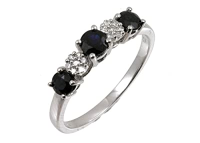 Ariel 9ct White Gold Diamond and Sapphire Eternity Ladies Ring
