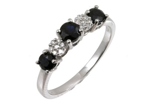 Eternity Ring, 9ct White Gold Diamond and Sapphire Ring, Claw Set