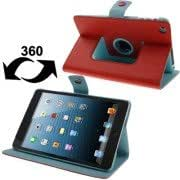 Lichee Texture 360 Degree Rotation Leather Case with Sleep / Wake-up Function 4 Gear Holder for iPad mini 1 / 2 / 3 (Red)