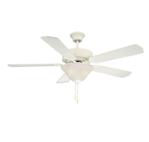 Savoy House 52-ECM-5RV-WH First Value 52-Inch Ceiling Fan, White Finish with Reversible Weathered/ White Blades and White Marble Bowl Light Kit