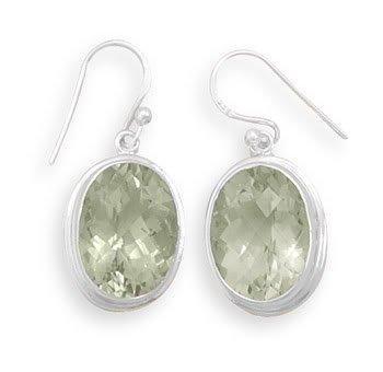 12x16mm Oval Green Amethyst French Wire Earrings