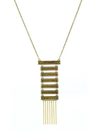 House of Harlow 1960 Jewelry Antiqued Totem Pole Necklace - Gold