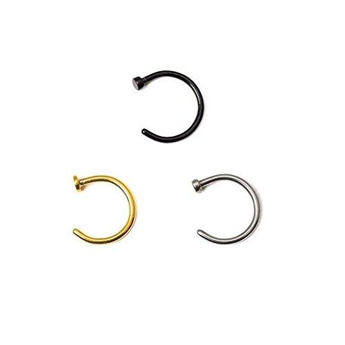 Placcati in oro, colore: nero anodizzato e anello per il naso, in acciaio chirurgico, 18 g, 1,0 mm, 1/4, diametro molto piccolo, confezione da 3 (es. .. GIFTS.