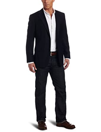Joseph Abboud Men's Super 120's Two Button Side Vent Blazer,  Navy, 38 S