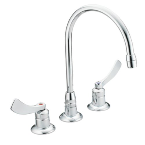 Moen 8225SM Commercial M-Dura Widespread Kitchen Faucet with 4-Inch Smooth Wrist Blade Handles and 8-Inch Spout Reach, 2.2-gpm, Chrome