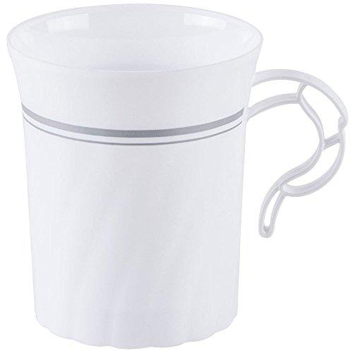 8 Oz. Heavyweight Plastic Coffee Mug / Coffee Cup White W/Silver Rim - 24 Count