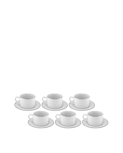 10 Strawberry Street Set of 6 Line Can Cups & Saucers, White/Silver