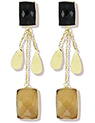Zaveri Pearls Black & Yellow Semi Precious Topaz Stones Gold Dangler Earrings - ZPFK5058