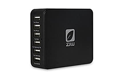 Zilu 40W 5 Port USB Family-sized Desktop Rapid Multi USB Charger Travel Power Adapter for iPhone 6/ 6 Plus 5S 5C 5 4S, iPad Air Mini, Samsung Tablets, Galaxy S5 S4 S3, Galaxy Note 4 3 2, LG G3, Smartphones, Tablets, iPods, Most Other 5V USB-Charged Device