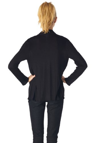Women'S Rayon Span Super Comfortable Basic Cardigan - Black M
