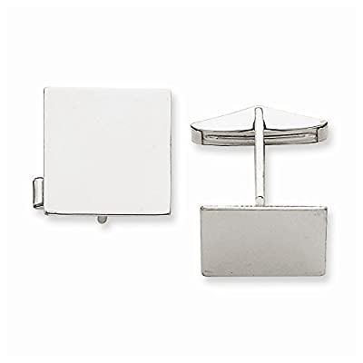 14K White Gold Square Cuff Links
