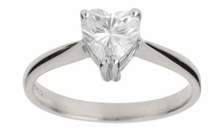 Moissanite 18ct White Gold 1.00 Carat Heart Ring - Zoe Kay Jewellery