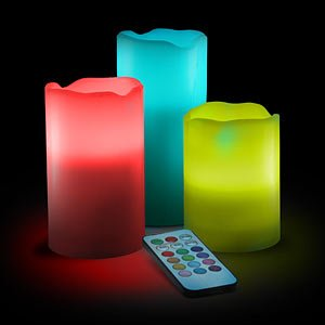Lily's Home - Vanilla Scented Wax Pillar Candles With Color Changing Remote Control and Timer (4'', 5'', 6'' inch candles)