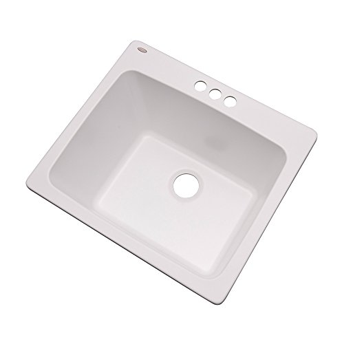 "Dekor Sinks 42300NSC Westworth Composite Utility Sink with Three Holes, 25"", White Natural Stone"