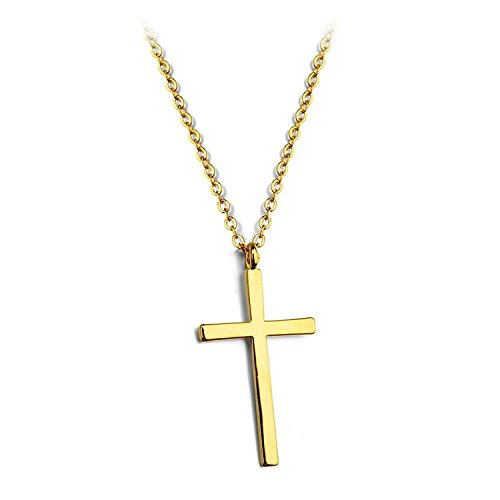 Tiny Cross Pendant Necklace Small Christian Necklace Charm 16 inch Cable Chain gold (Gold Number Necklace Pendant compare prices)