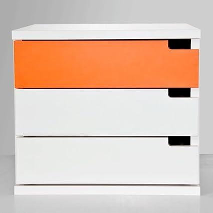 CajonesUnicos - Cajonera modular blanca mim3 40cm blanco naranja unc1