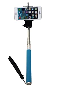 UFCIT(TM) Extendable Self Portrait Selfie Handheld Stick Monopod With Smartphone Adajustable Holder For iPhone Samsung Camera With 1/4 Inch Screw Hole (blue)