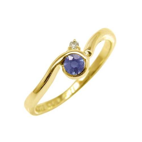 [アトラス] Atrus 指輪 リング アイオライト ダイヤモンド イエローゴールドK18 18金 指輪 11号 愛と結婚の守護石 アイオライト を優しく包み込むエレガントな天然石リング ファッションリング