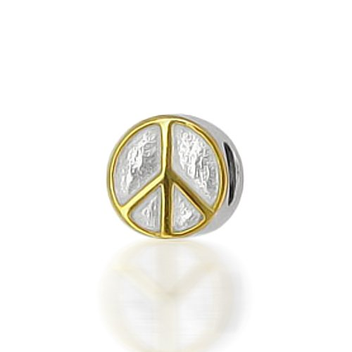 Bling Jewelry Peace Sign 925 Sterling Silver Inspirational Bead Biagi Pandora Compatible