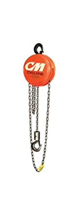 CM 4722 Aluminum Cyclone Hand Chain Hoist with Hook Mounted, 500 lbs Capacity, 15' Lift Height