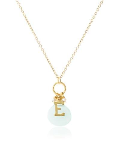 """Diane Yang Light Green Quartz """"E"""" Initial Necklace"""