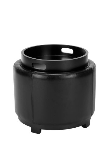Safavieh Hudson Collection Bowery Black Leather Round Tray Ottoman