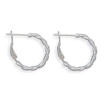 Jewelry Locker Polished and Rope Twist Design Hoop Earrings
