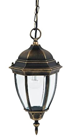 Large Traditional Hanging Outdoor Lantern Antique Gold IP44 Rated 2 4 808 Am