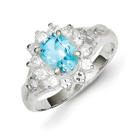 Genuine IceCarats Designer Jewelry Gift Sterling Silver Blue Topaz Ring Size 7.00