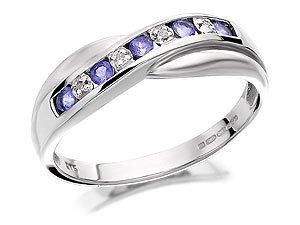 9ct White Gold Diamond And Tanzanite Half Eternity Ring - O