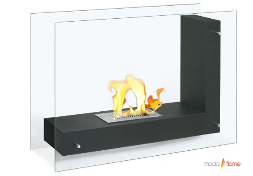 Moda Flame Arta Ventless L Shaped Bio Ethanol Fireplace in Black picture