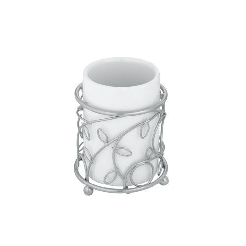 InterDesign Twigz Tumbler, Silver/White