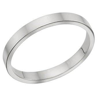 3.0 Millimeters Flat White Gold Heavy Wedding Band Ring on Sale 10Kt Gold, Style FSTF03WK Finger Size 14.5