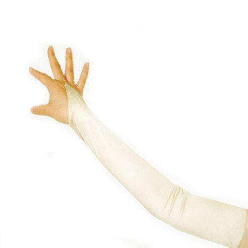 SACAS Long Fingerless Satin Gloves in Ivory One Size