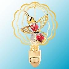 Hummingbird in Ruffled Circles Night Light..... With Red Swarovski Austrian Crystals - 1
