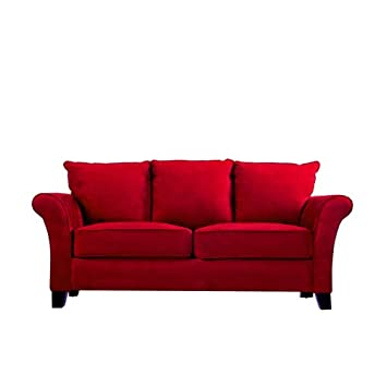 Handy Living MLN1-SX-AAA47 Milan Transitional Flared Arm Microfiber Sofa - Crimson Red