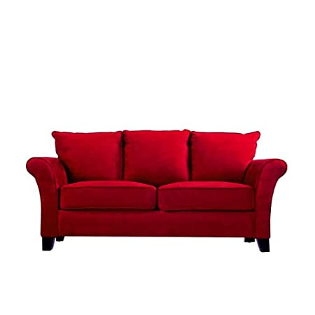 Handy Living MLN1-SX-AAA47 Milan Transitional Flared Arm Microfiber Sofa, Crimson Red
