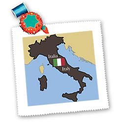 777images The Map and Flag of Italy with Italy Printed in English and Italian Square Quilt Sheet, 10 by 10-Inch