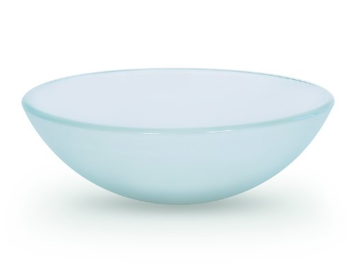 "Cheap MISANO Premium Tempered Glass Vessel Sink; Round Shaped Bowl, Frosted Color, 1/2"" Thick"