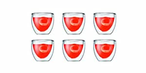 Bodum Pavina 2-1/2-Ounce Double Wall Espresso/Shot Glass, Set of 6
