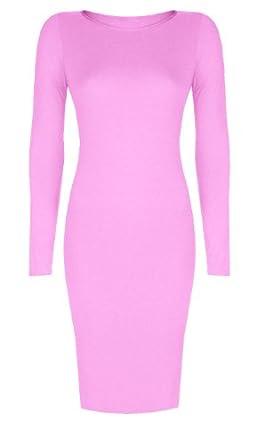Womens Long Sleeved Scoop Neck Midi Dress (Aqa) (8/10 (uk 12/14), Baby pink)