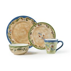 Tuscany Floral 16-Piece Dinnerware Set in Sand