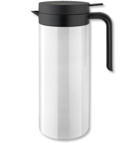 Isosteel Tableline Va-9337K 1.0 Liter 34 Fl. Oz 18/8 Stainless Steel Double Wall Vacuum Carafe, White Color Coating Finish, Quickstop System, Single Hand Pouring